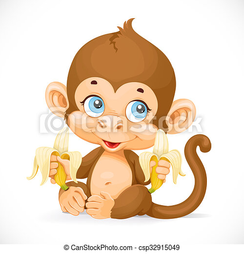 Cute baby monkey with banana isolated on a white background - csp32915049