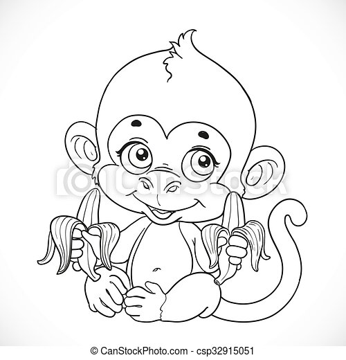 Cute baby monkey with banana outlined isolated on a white background - csp32915051