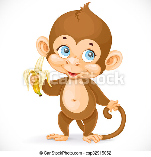 Cute baby monkey with banana stand on a white background - csp32915052