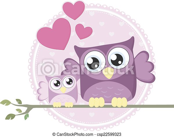 cute baby owl and mom - csp22599323