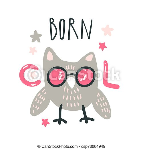 Cute baby owl with pink glasses. Hand drawn vector illustration. For kid's or baby's shirt design, fashion print design, graphic, t-shirt, kids wear. - csp78084949