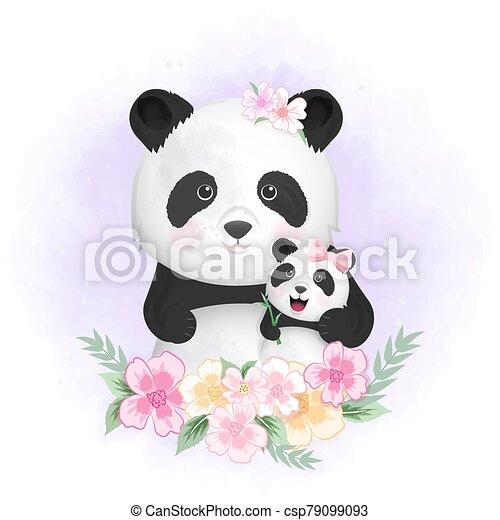 Cute baby panda and mom hand drawn cartoon animal illustration watercolor - csp79099093
