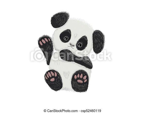 Cute baby panda bear hand drawn vector illustration - csp52460119