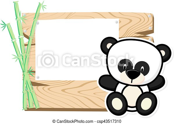 Cute Baby Panda Frame Illustration Of Cute Baby Panda On Wooden