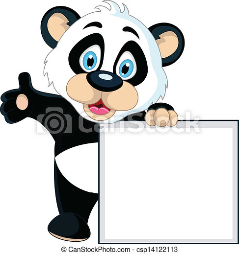 cute Baby panda holding blank sign - csp14122113