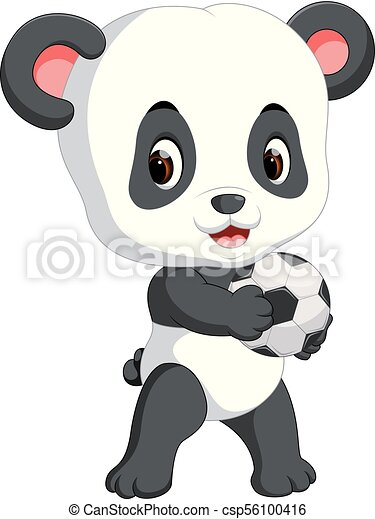 Illustration Of Cute Baby Panda Playing Soccer