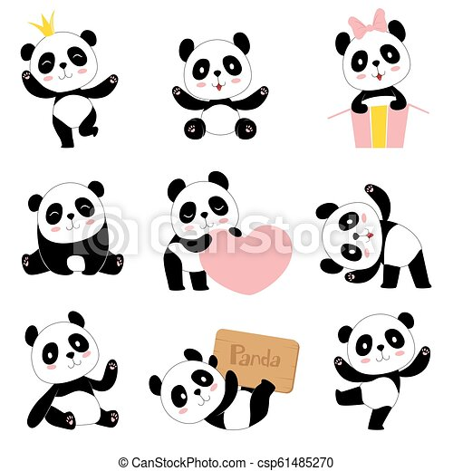 Cute Baby Pandas Toy Animals Chinese Symbols Panda Bear Adorable Funny Baby Mascot Vector Characters Collection In Cartoon