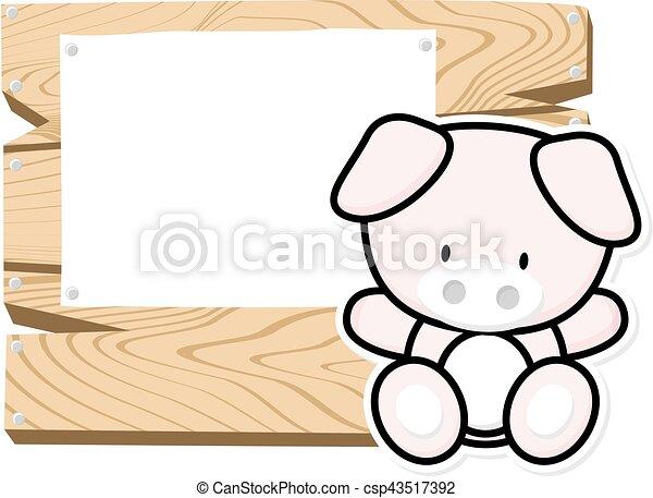 cute baby piglet frame - csp43517392