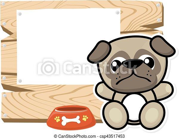cute baby pug frame - csp43517453