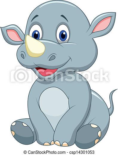 Cute baby rhino cartoon - csp14301053