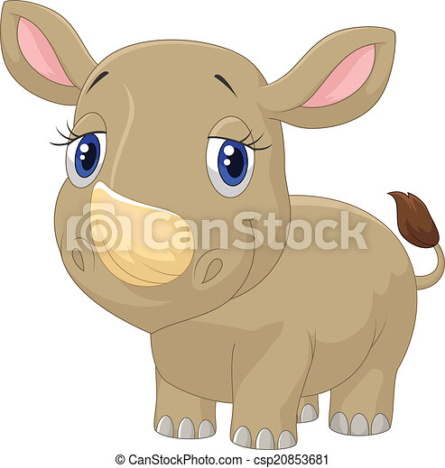 Cute baby rhino cartoon  - csp20853681