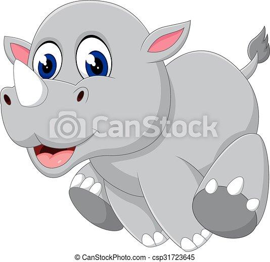 Cute baby rhino cartoon - csp31723645