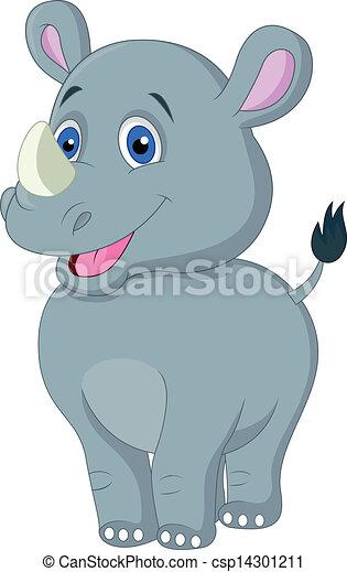 Cute baby rhino cartoon - csp14301211