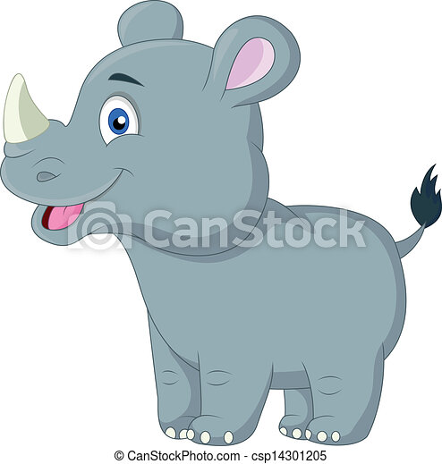 Cute baby rhino cartoon - csp14301205