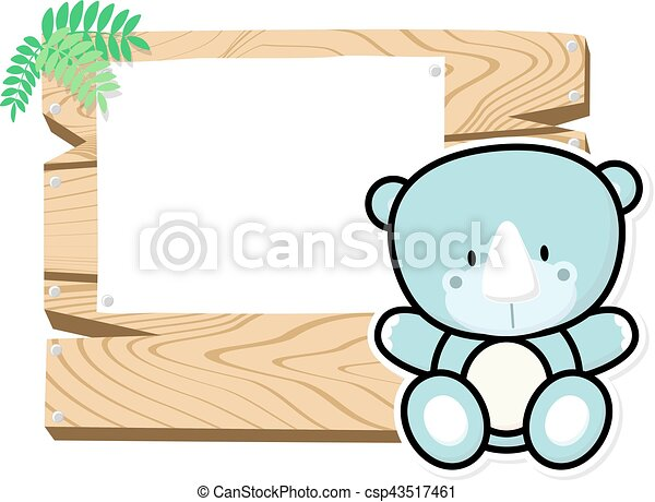 cute baby rhino frame - csp43517461