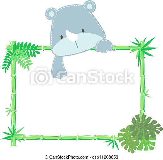 cute baby rhino frame - csp11208653