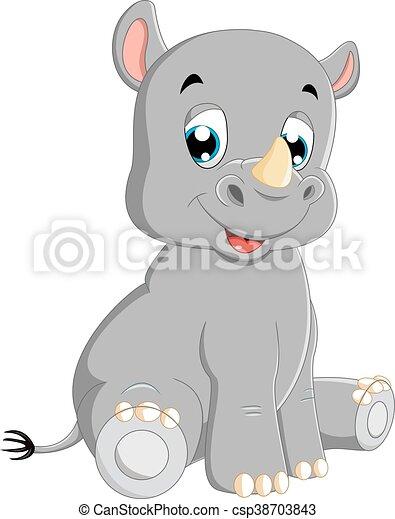 Cute baby rhino sitting - csp38703843