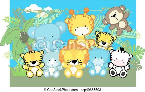cute baby safari animals - csp49668693
