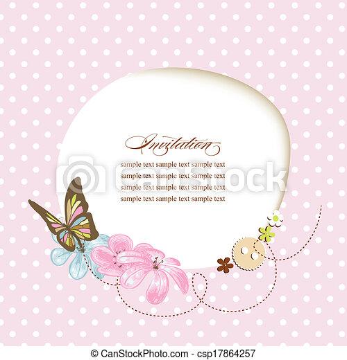 Cute baby shower, invitation, scrapbook template - csp17864257