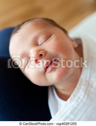 Cute Baby Sleeping Portrait Of Sleeping Newborn Baby Girl With Smile