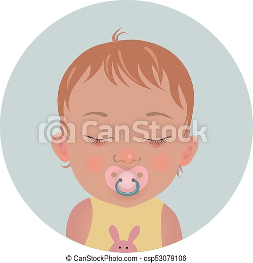 Cute baby sleeping with soother emoticon  Sleepy child with pacifier emoji   Toddler sleep with dummy icon