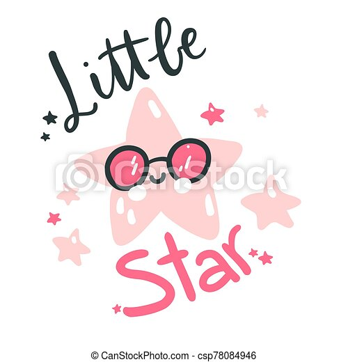 Cute baby star. Hand drawn vector illustration. For kid's or baby's shirt design, fashion print design, graphic, t-shirt, kids wear. - csp78084946
