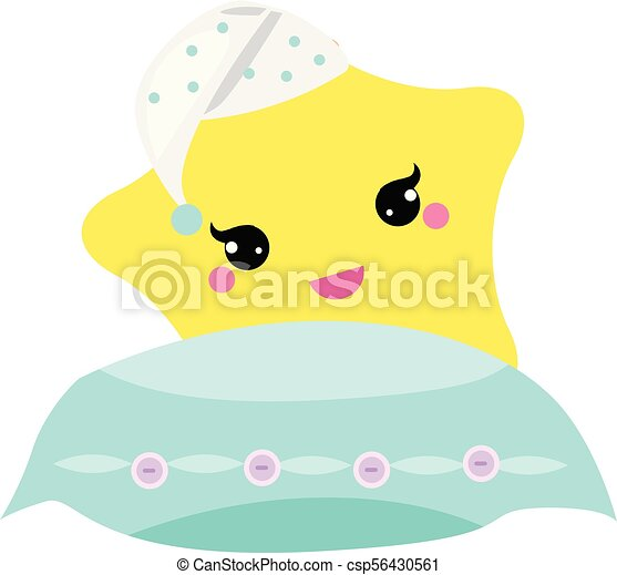 Cute Baby Star With Pillow In Hight Hat Vector Illustration For