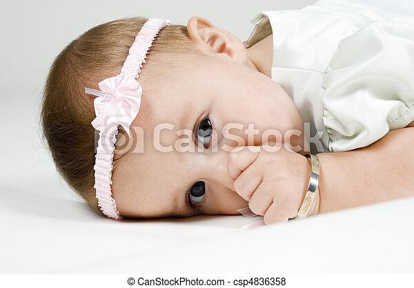 Cute Baby Sucking Thumb - csp4836358