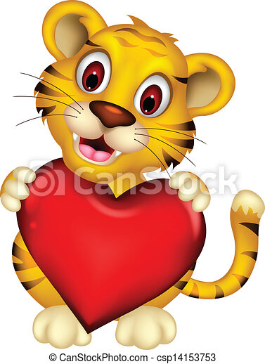 Vector illustration of cute baby tiger posing with heart love.