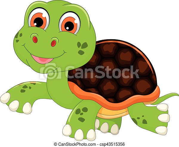 Vector Illustration Of Cute Baby Turtle Cartoon Walking