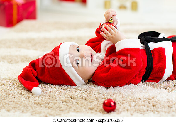 Cute Baby Weared Christmas Clothes Cute Baby Boy Weared Stock