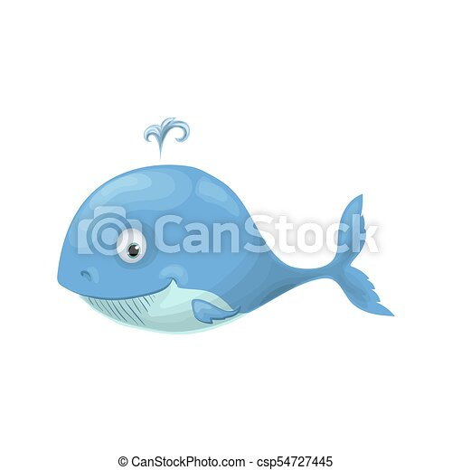 Cute baby whale in a sailor suit cartoon hand drawn vector illustration - csp54727445
