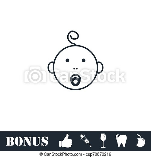 Cute baby with pacifier icon flat - csp70870216