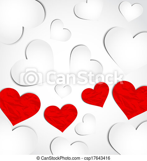 Cute background for Valentine's day with paper hearts - csp17643416