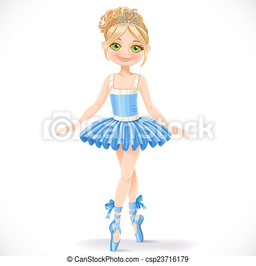 Cute ballerina woman in blue dress isolated on a white background - csp23716179