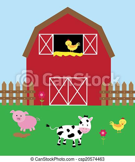 cute barnyard cute barnyard with animals rh canstockphoto com barnyard clip art barnyard roundup clipart