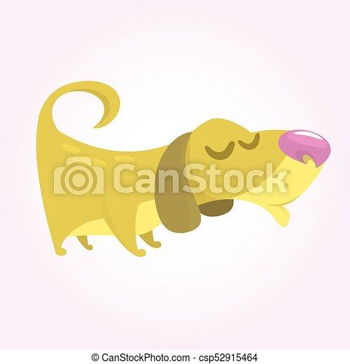Cute Basset Hound dog cartoon. Vector illustration isolated on white background - csp52915464