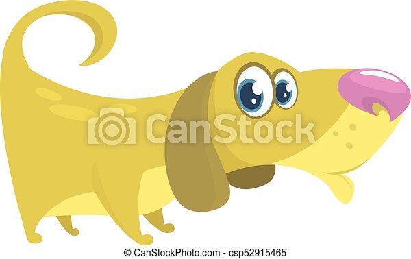 Cute Basset Hound dog cartoon. Vector illustration isolated on white background - csp52915465