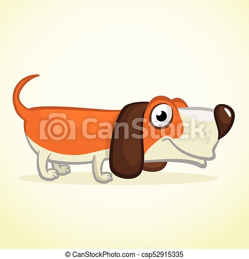 Cute Basset Hound dog cartoon. Vector illustration isolated on white background - csp52915335