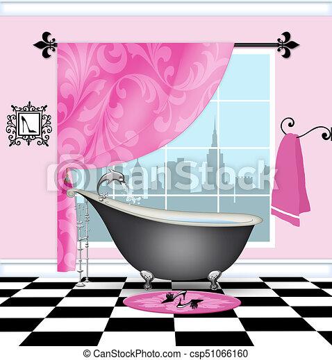 Cute Bathroom With Vintage Claw Foot Tub