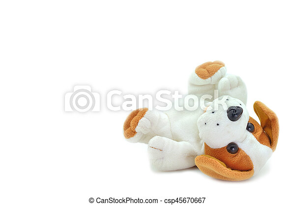 Cute beagle puppy doll sleeping tip on white background. - csp45670667