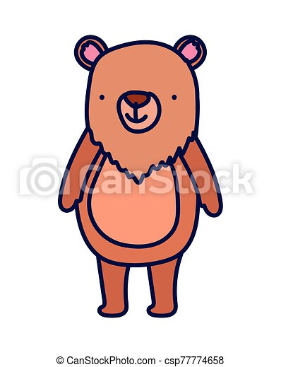 cute bear animal cartoon character on white background - csp77774658