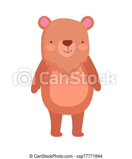 cute bear animal cartoon character on white background - csp77771844