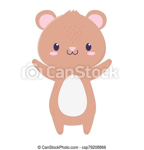 cute bear animal cartoon isolated icon - csp79208866