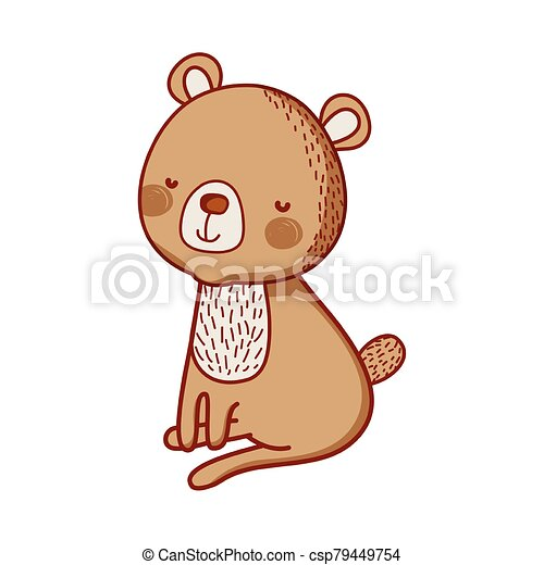 cute bear animal cartoon isolated icon design - csp79449754