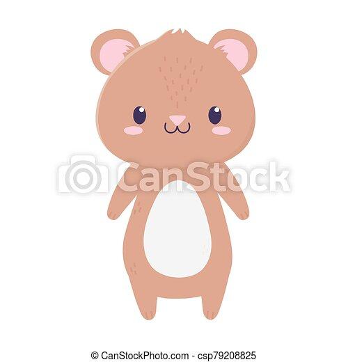 cute bear animal cartoon isolated icon - csp79208825