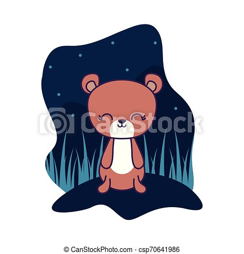 cute bear animal isolated icon - csp70641986