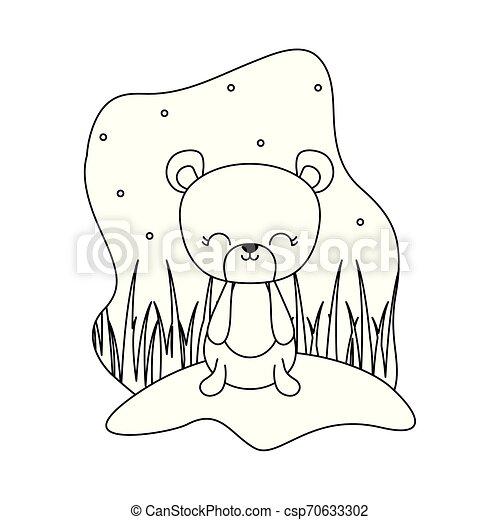 cute bear animal isolated icon - csp70633302
