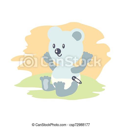 cute bear baby animal isolated icon - csp72988177
