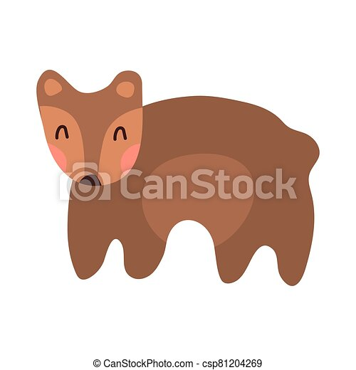 Cute bear cartoon hand drawn vector illustration in flat style. Can be used for t-shirt print, kids wear clothing design, baby shower invitation card. Good brown grizzly bear, wild animals. - csp81204269